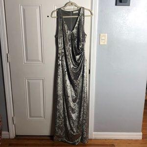 Calvin Klein Silver Crushed Velvet Gown